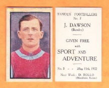 Burnley Jimmy Dawson England